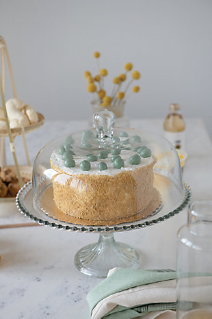 Creative Co-Op Round Glass Cake Stand with Hobnail Edge and Cloche, , large