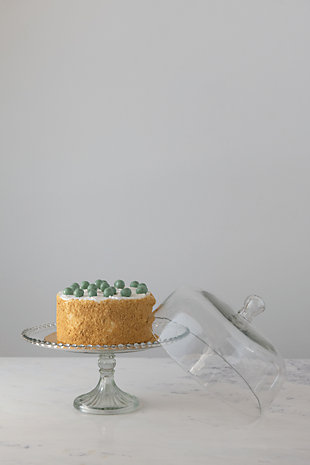Creative Co-Op Round Glass Cake Stand with Hobnail Edge and Cloche, , rollover