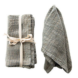 Creative Co-Op Blue Square Woven Striped Linen Napkin (Set of 4), Gray, large