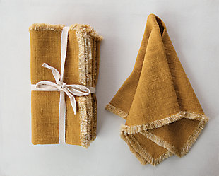 Creative Co-Op Mustard Square Linen Blend Napkin with Fringe Trim (Set of 4), , rollover