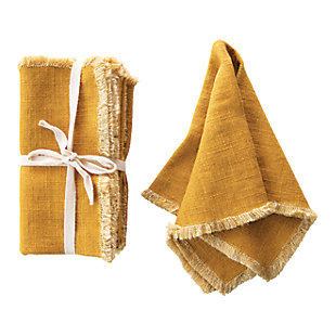 Creative Co-Op Mustard Square Linen Blend Napkin with Fringe Trim (Set of 4), , large