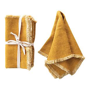 Creative Co-Op Mustard Square Linen Blend Napkin with Fringe Trim (Set of 4), , large