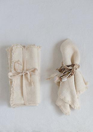 Creative Co-Op Cream Square Linen Napkin with Fringe Trim (Set of 4), , rollover