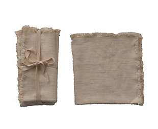 Creative Co-Op Cream Square Linen Napkin with Fringe Trim (Set of 4), , large