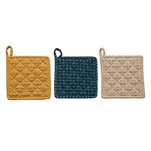 Creative Co-Op Square Cotton Waffle Pot Holder, Set of 3 Colors, , rollover