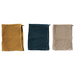 Creative Co-Op Cotton Waffle Tea Towels, Set of 3 Colors, , rollover