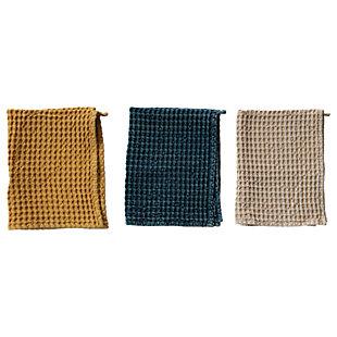 Creative Co-Op Cotton Waffle Tea Towels, Set of 3 Colors, , large