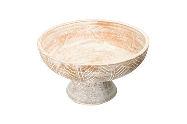 Creative Co-Op Whitewash Engraved Terra-cotta Footed Bowl, , large