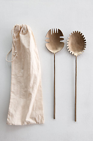 Creative Co-Op Brass Hand-Forged Salad Servers (Set of 2), , rollover