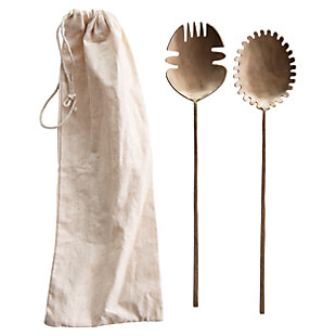 Creative Co-Op Brass Hand-Forged Salad Servers (Set of 2), , large