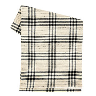 Creative Co-Op Black Plaid Woven Cotton and Wool Table Runner, , large