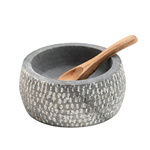Creative Co-Op Granite Bowl with Carved Wood Spoon (Set of 2), , large