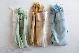 Creative Co-Op Cotton Tea Towels with Fringe (Set of 3), , rollover