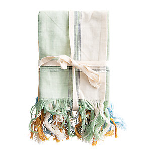 Creative Co-Op Cotton Tea Towels with Fringe (Set of 3), , large