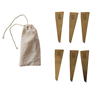 Creative Co-Op Brass Stainless Steel Cheese Markers (Set of 6), , large