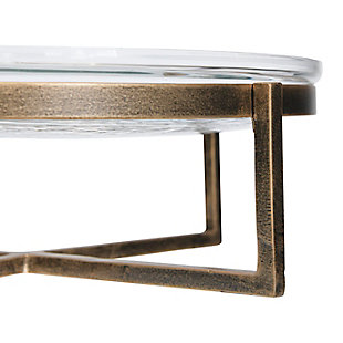 Creative Co-Op Glass Serving Tray with Metal Stand (Set of 2), , large