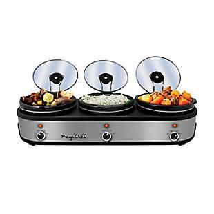 Megachef Triple 2.5 Quart Slow Cooker and Buffet Server, , large