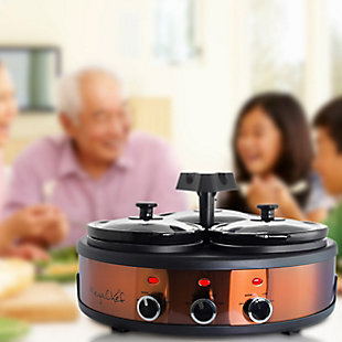 Megachef Round 1.5 Quart Triple Slow Cooker and Buffet Server, , rollover