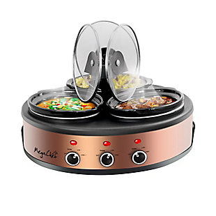 Megachef Round 1.5 Quart Triple Slow Cooker and Buffet Server, , large