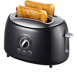 Brentwood Two Slice Extra Wide Slot Retro Toaster, Black, large