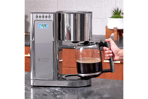 Russell Hobbs Glass 8 Cup Coffee Maker, Silver, large