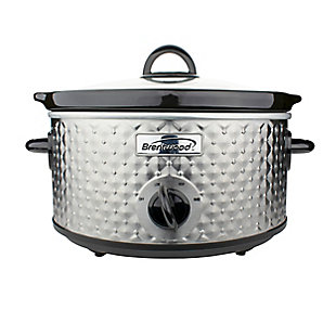 Brentwood 3.5 Quart Diamond Pattern Slow Cooker in Stainless Steel, , large