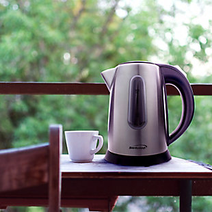 Brentwood 1L Electric Kettle, Silver, rollover