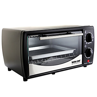 Better Chef 9 Liter Toaster Oven Broiler-Black with Stainless Steel Front, , large