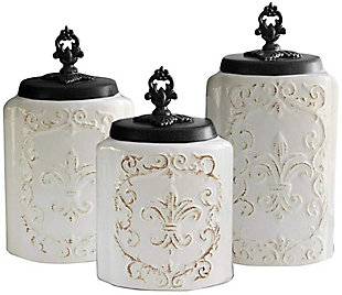 AMERICAN ATELIER White Antique Canister (Set of 3), White, rollover