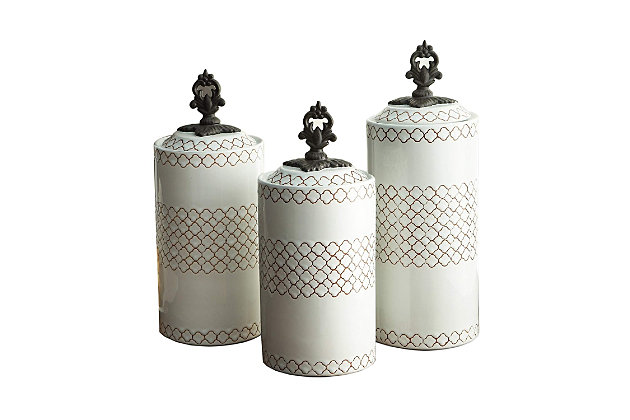 AMERICAN ATELIER White Canisters (Set of 3), White, large