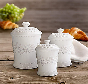 AMERICAN ATELIER Bianca Leaf Canister (Set of 3), , rollover