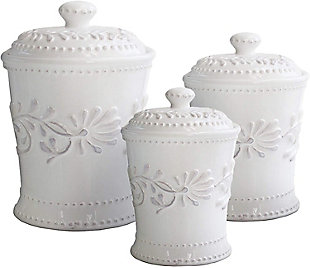 AMERICAN ATELIER Bianca Leaf Canister (Set of 3), , large