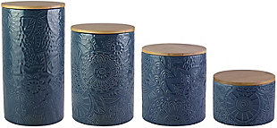 AMERICAN ATELIER Embossed Blue Canister (Set of 4), Blue, rollover
