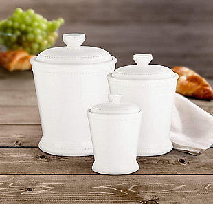 AMERICAN ATELIER Bianca Dots White Canister (Set of 3), , rollover