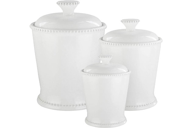 AMERICAN ATELIER Bianca Scallop White Canister (Set of 3), , large
