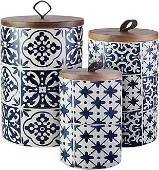 AMERICAN ATELIER Blue Medallions Canister with Wooden Lid (Set of 3), , rollover