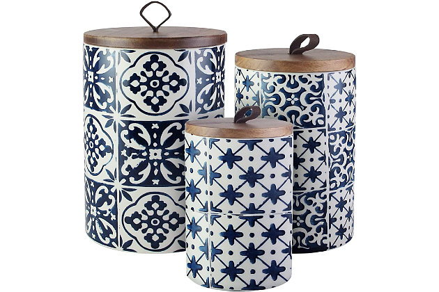 AMERICAN ATELIER Blue Medallions Canister with Wooden Lid (Set of 3), , large