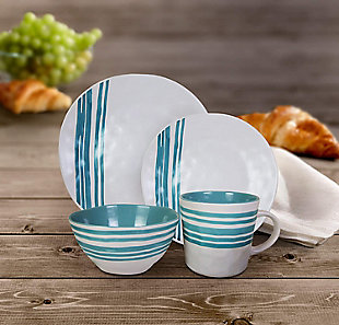 AMERICAN ATELIER Bistro Teal 16-Piece Dinner Set, Teal, rollover