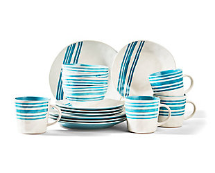 AMERICAN ATELIER Bistro Teal 16-Piece Dinner Set, Teal, large