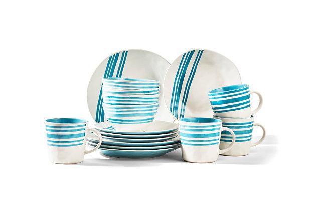 AMERICAN ATELIER Bistro Teal 16-Piece Dinner Set, Teal, large