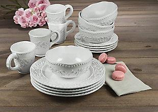 AMERICAN ATELIER Bianca Leaf 16-Piece Dinnerware Set, , rollover
