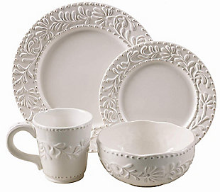 AMERICAN ATELIER Bianca Leaf 16-Piece Dinnerware Set, , large
