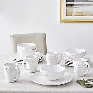 AMERICAN ATELIER Bianca White 16-Piece Dinnerware Set, , rollover