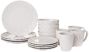 AMERICAN ATELIER Bianca White 16-Piece Dinnerware Set, , large
