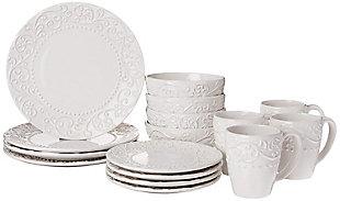 AMERICAN ATELIER Bianca White 16-Piece Dinnerware Set, , large