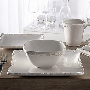 AMERICAN ATELIER Bianca Wave White 16-Piece Dinner Set, , rollover