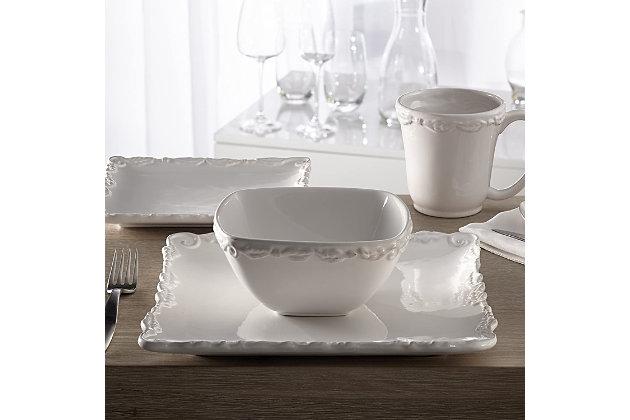AMERICAN ATELIER Bianca Wave White 16-Piece Dinner Set, , large