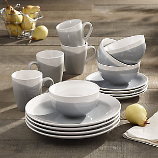 AMERICAN ATELIER Oasis Blue/Gray 16-Piece Dinner Set, Blue, rollover
