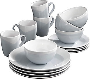 AMERICAN ATELIER Oasis Blue/Gray 16-Piece Dinner Set, Blue, large