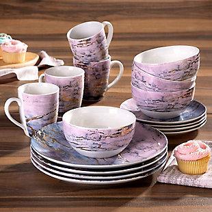 AMERICAN ATELIER Marble Pu/Gd 16-Piece Dinnerware Set, Purple, rollover